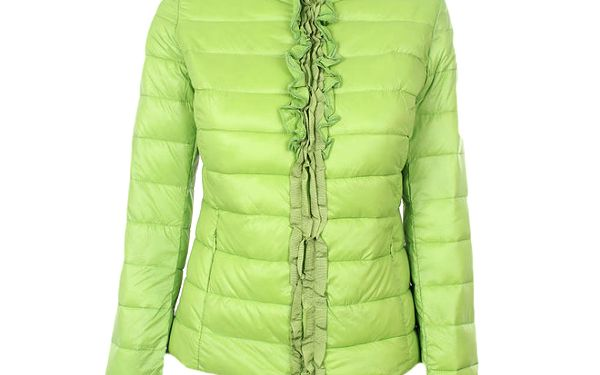 Dámská zelená prošívaná bunda se stojáčkem a volánky Minority