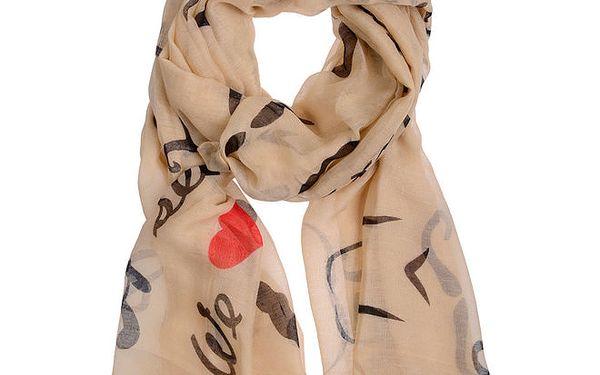 Dámský béžový šátek s nápisy Invuu London
