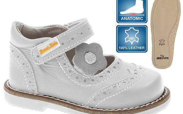 Dětské šedobílé kožené botičky Beppi