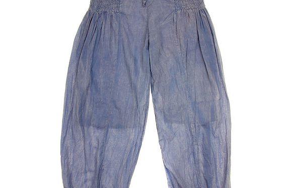 Dětské modré kalhoty s žabičkováním Peace&Love