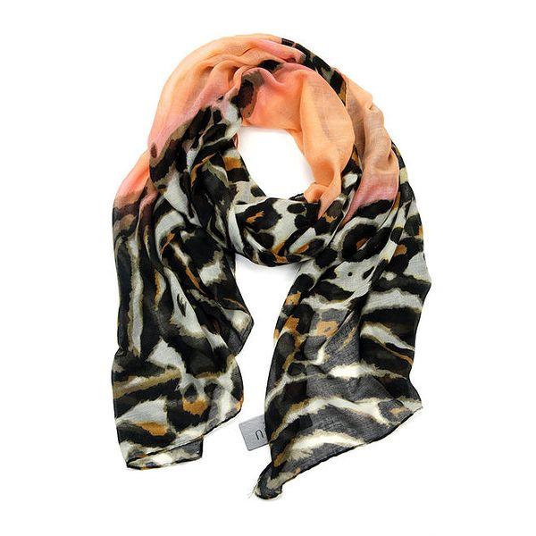 Dámský šátek se safari vzorem a broskvovou částí Invuu London