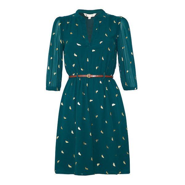 Dámské petrolejové šaty se zlatými ptáčky Yumi