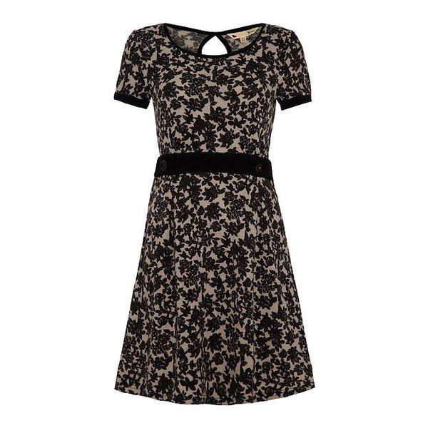 Dámské tmavé šaty s černými květinami Yumi