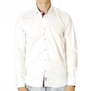 Pánská bílá košile s kontrastním zapínáním Santa Barbara