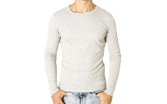 Pánské světle šedé tričko s dlouhým rukávem Santa Barbara