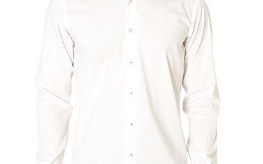 Pánská bílá košile se světle modrým límečkem Santa Barbara