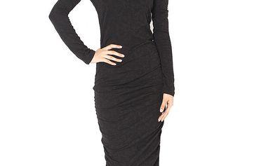 Dámské černé vzorované šaty s průstřihem na zádech Santa Barbara