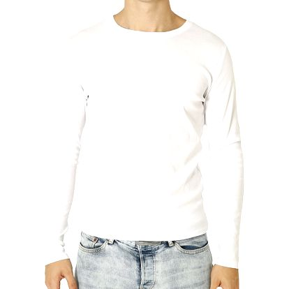 Pánské bílé tričko s dlouhým rukávem Santa Barbara