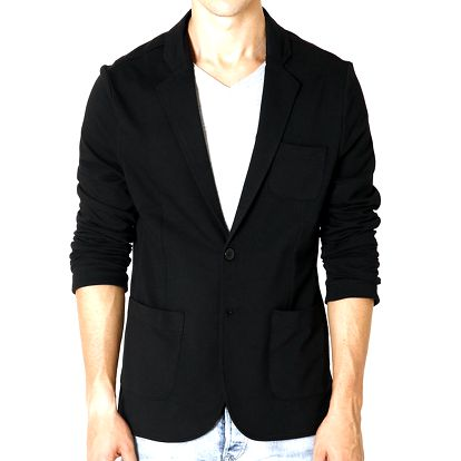 Pánské černé sako s náprsní kapsou Santa Barbara