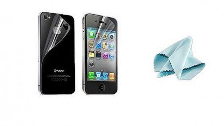 Ochranná zadní a přední fólie včetně antistatického hadříčku pro APPLE iPhone 4G / 4S se slevou 70 %!