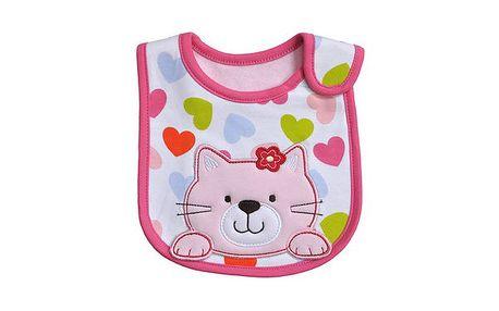 Carter´s voděodolný bryndák s výšivkou na suchý zip - růžová kočička