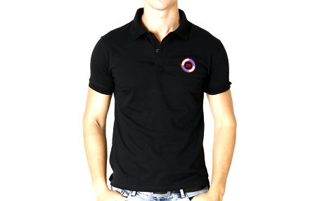 Pánské černé polo tričko s kulatou nášivkou Santa Barbara