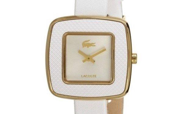 Dámské hranaté hodinky s koženým páskem Lacoste