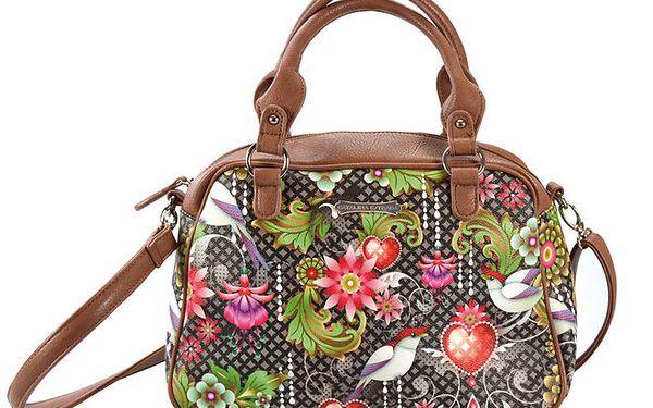 Dámská hnědá kabelka s barevným vzorem Catalina Estrada