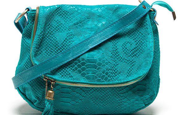 Dámská tyrkysová kabelka s hadím vzorem Roberta Minelli