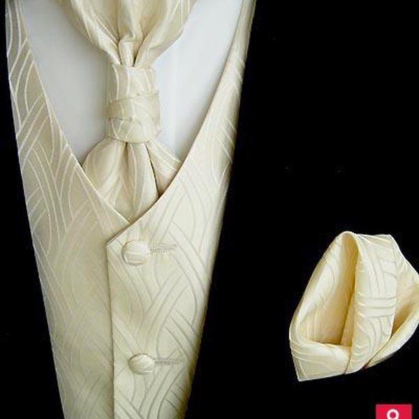 Svatební vesta Beytnur 19-2 regata, kravata a kapesníček