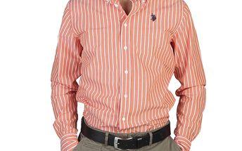 U.S. Polo pánská košile oranžová proužek