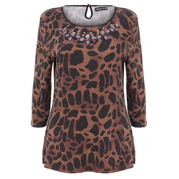 Dámský hnědý top s leopardím vzorem a krystalky Sugar Crisp