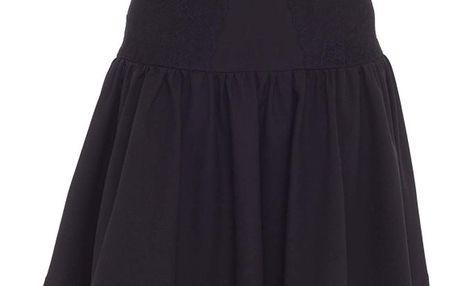 Dámská černá sukně s širokým pasem a krajkou Arefeva
