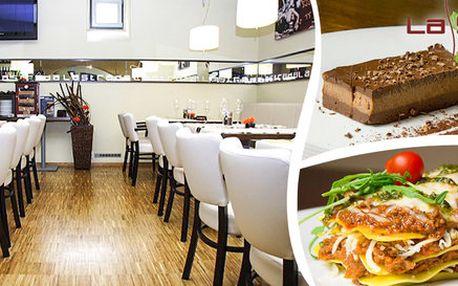 2x boloňské lasagne a čokoládový dezert