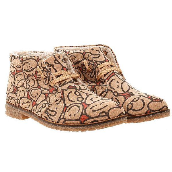 Dámské zimní boty s potiskem hlaviček Elite Goby