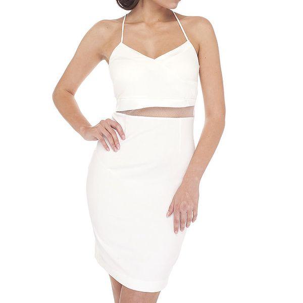 Dámské bílé šaty s tenkými ramínky Arefeva