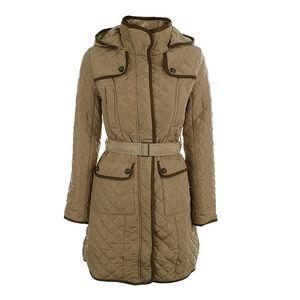 Dámský béžový prošívaný kabát s kapucí Samar Moda