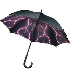 Deštník s potiskem blesků na vnitřní straně