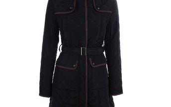 Dámský černý prošívaný kabát s kapucí Samar Moda