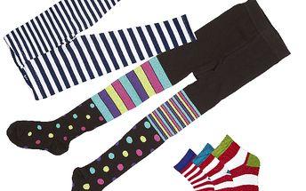 Sada punčoch, legín a tří párů ponožek černo - modrá