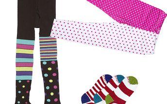 Sada punčoch, legín a tří párů ponožek černo - růžová