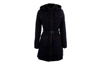 Dámský tmavě modrý prošívaný kabát s kapucí Samar Moda