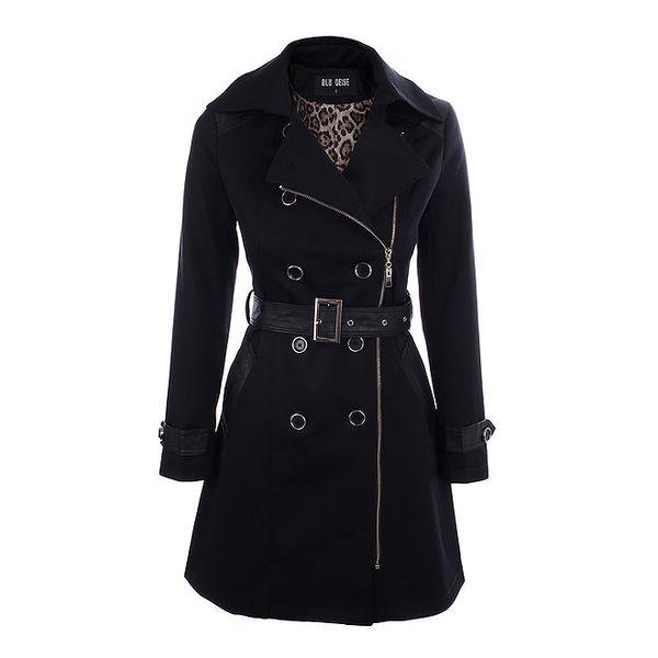 Dámský černý kabát s páskem Blu Deise