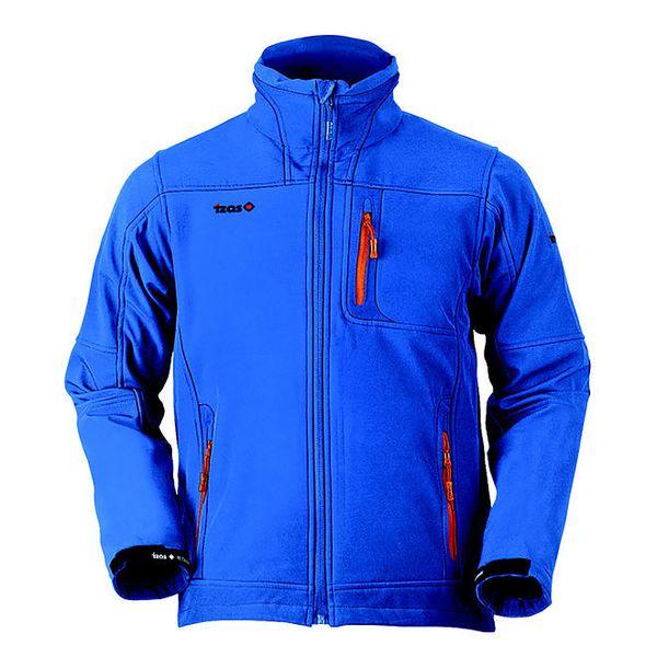 Pánská modrá softshellová bunda s oranžovými zipy Izas