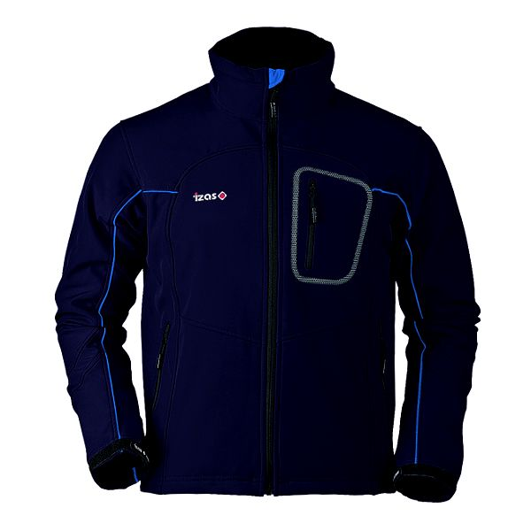 Pánská tmavě modrá softshellová bunda s modrými prvky Izas
