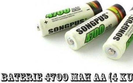Nabíjecí tužkové baterie AA o kapacitě 4700 mAh . Balíček plný energie za skvělou cenu .
