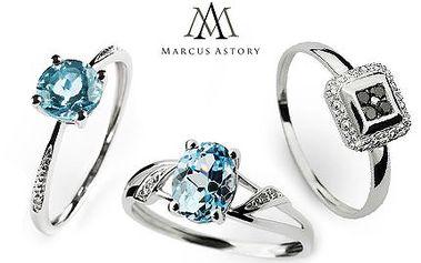Luxusní prsteny Marcus Astory z bílého zlata s pravými diamanty