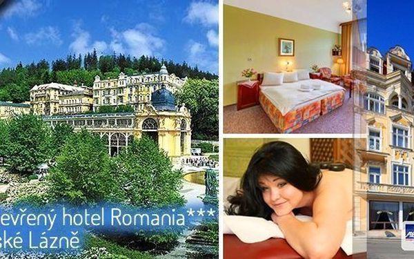 Exkluzivní lázeňský balíček!Ubytování v prvorepublikovém hotelu Romania 200 m od kolonády s polopenzí a spoustou wellness procedur!3, 4 nebo 6 denní dovolená plná hýčkánív Mariánských Lázních!