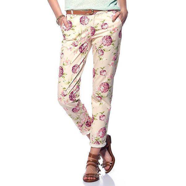 Dámské smetanové kalhoty s květinami Jimmy Key