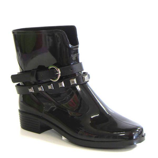 Dámské černé kotníkové boty s ozdobným páskem Favolla