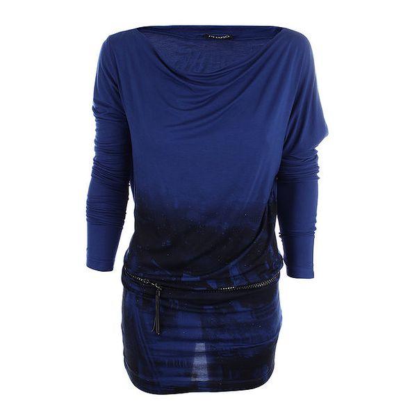Dámské modré šaty s potiskem a páskem Phard