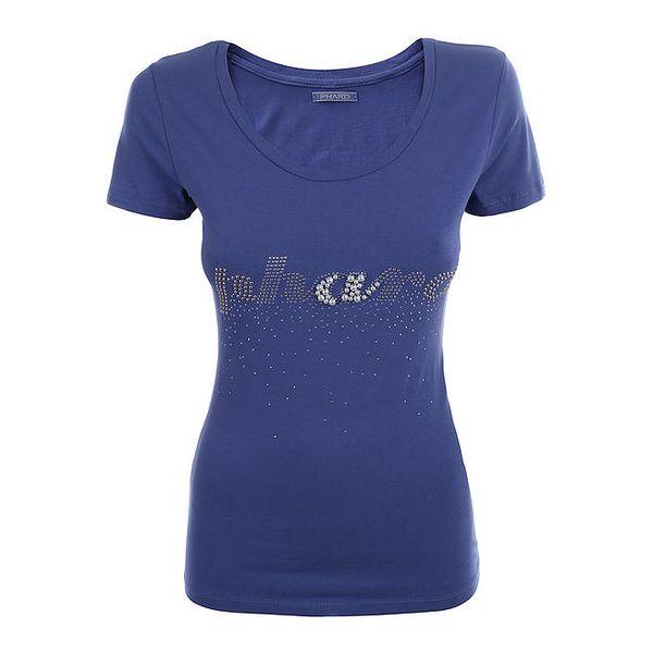 Dámské modré tričko s kamínky a korálky Phard