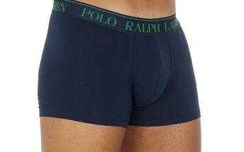 Pánské tmavě modré boxerky se zelenou výšivkou Ralph Lauren