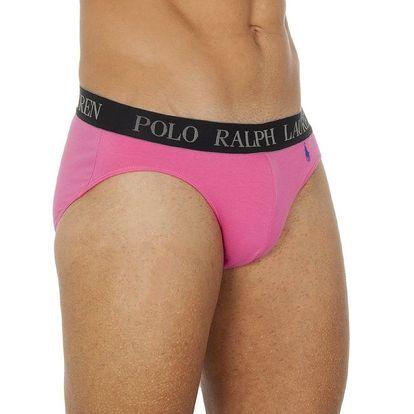 Pánské růžové slipy s modrou výšivkou Ralph Lauren