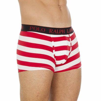 Pánské červeno-bílé pruhované boxerky Ralph Lauren
