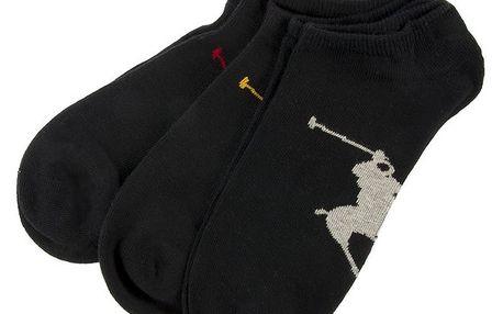 Sada tří párů pánských kotníkových ponožek v černé barvě Ralph Lauren