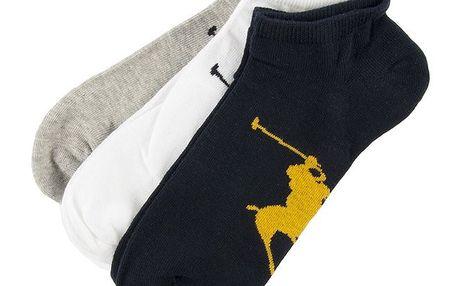 Sada tří párů pánských kotníkových ponožek v barevném provedení Ralph Lauren