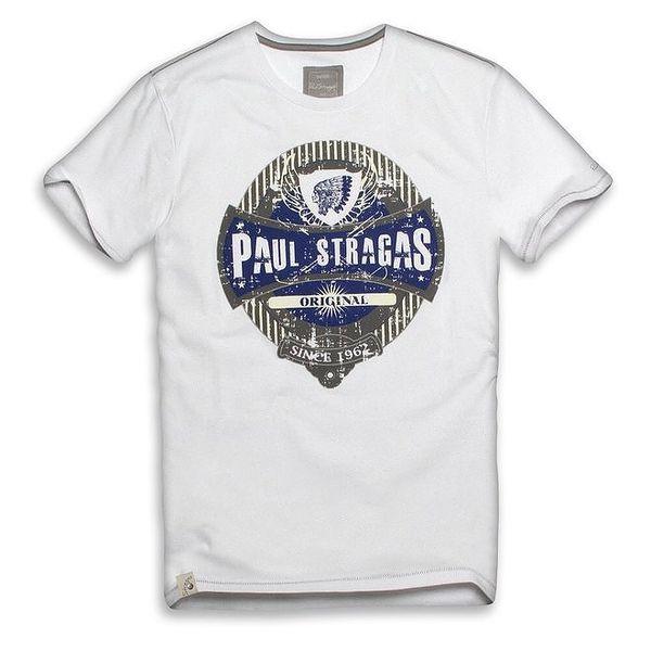 Pánské bílé bavlněné tričko s potiskem Paul Stragas