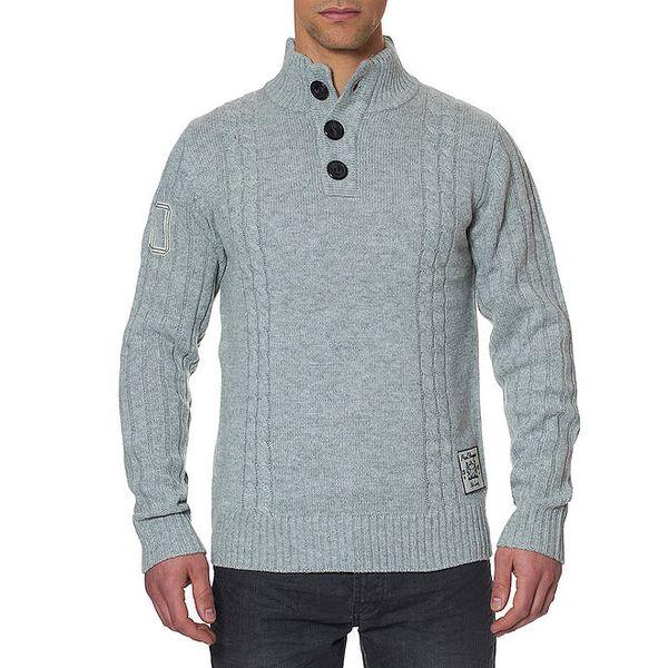 Pánský šedý svetr s knoflíky Paul Stragas