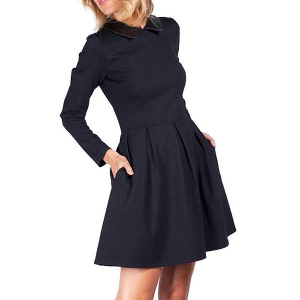 Dámské černé šaty s límečkem Sixie